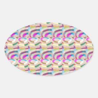 HAPPY Pink ARC Pattern : GIFTS Unique Pattern FUN Oval Sticker