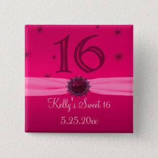 Happy Pink Birthday 16 Keepsake 15 Cm Square Badge