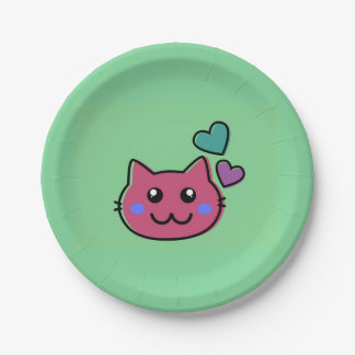 happy pink  cat emoji on green backround paper plate