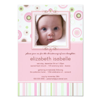 Happy Pink Dots Baby Photo Christening Invitation