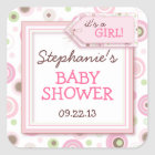 Happy Pink Dots Girl Baby Favour & Envelope Square Sticker