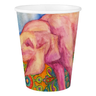 happy pink elephant paper cup