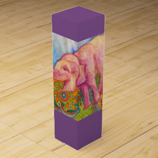 happy pink elephant wine box