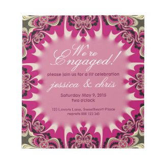 Happy Pink Engagement Budget Invitation notepad