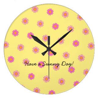 Happy Pink Flower Pattern Clock