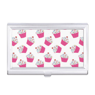 Happy Pink Heart Cupcakes - Sweet Bakery Pattern Business Card Case
