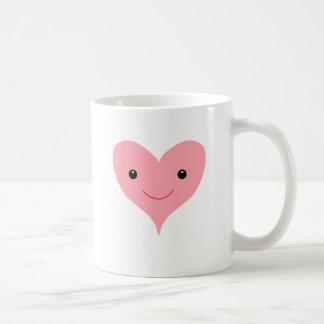 Happy Pink Heart Basic White Mug