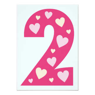 Happy Pink Hearts Number 2 Birthday Party Invite
