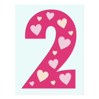 Happy Pink Hearts Number 2 Postcard Party Invite