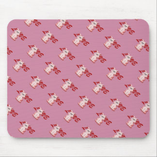 Happy Pink Hopping Rabbit for Easter Bunny Holiday Mouse Pad