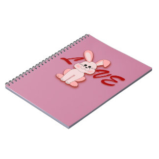 Happy Pink Hopping Rabbit for Easter Bunny Holiday Notebook