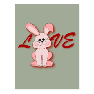 Happy Pink Hopping Rabbit for Easter Bunny Holiday Postcard