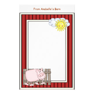 Happy Pink Pig Barn Red Frame Kids Writing Paper