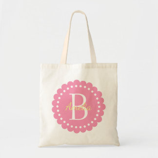 Happy Pink Polka Dot Flower With Butter Yellow Tote Bag