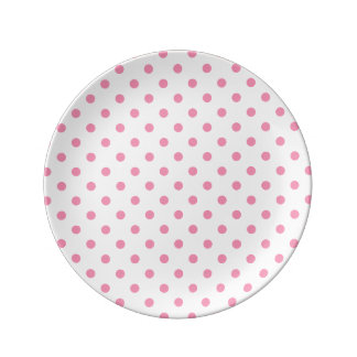Happy Pink Polka Dot Porcelain Plates