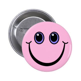 Happy Pink Smiley Face 6 Cm Round Badge
