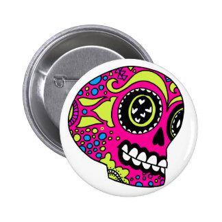 Happy Pink Sugar Skull 6 Cm Round Badge