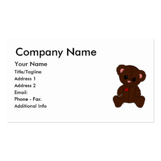 Happy Pink Teddy Bear Business Card Template