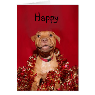 Happy pitbull puppy Christmas Card