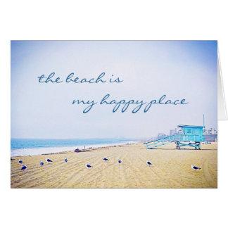 """Happy place"" aqua sky beach photo blank inside Card"