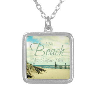 HAPPY PLACE BEACH SAYING PHOTO NECKLACE