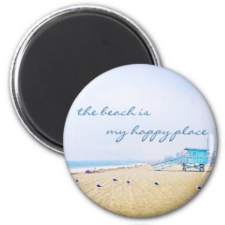 """Happy place"" quote aqua sky and sandy beach photo Magnet"