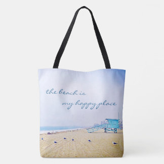 """""""Happy place"""" quote aqua sky and sandy beach photo Tote Bag"""