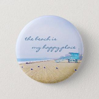 """""""Happy place"""" quote aqua sky & sandy beach photo 6 Cm Round Badge"""