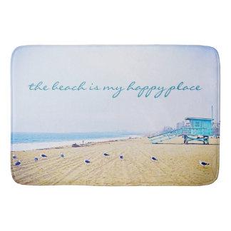 """Happy Place"" Quote Aqua Sky & Sandy Beach Photo Bath Mat"