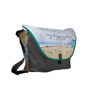 """Happy Place"" Quote Aqua Sky & Sandy Beach Photo Commuter Bags"