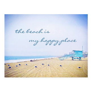 """Happy place"" quote aqua sky & sandy beach photo Postcard"