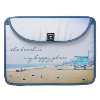 """Happy Place"" Quote Aqua Sky & Sandy Beach Photo Sleeve For MacBooks"
