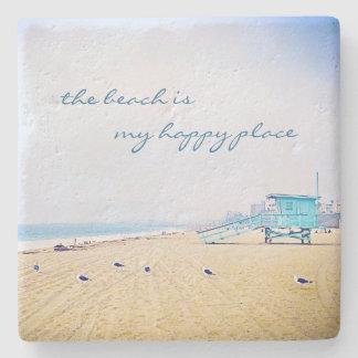 """Happy Place"" Quote Aqua Sky & Sandy Beach Photo Stone Coaster"