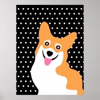 Happy Poka Dot Corgi Poster