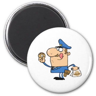Happy Police Officer Eating Donut 6 Cm Round Magnet