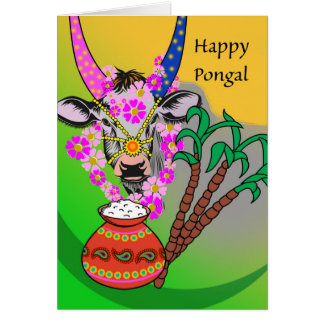 Happy Pongal, Decorated Cow, Pongal Rice, Sugar Card