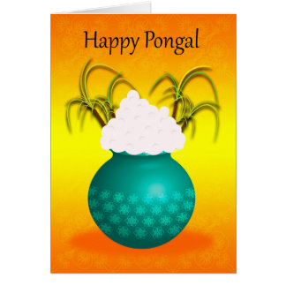 Happy Pongal, with a Pot Of Rice And Plants Card