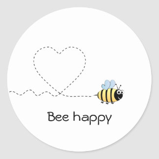 Happy positive bee in love cartoon classic round sticker