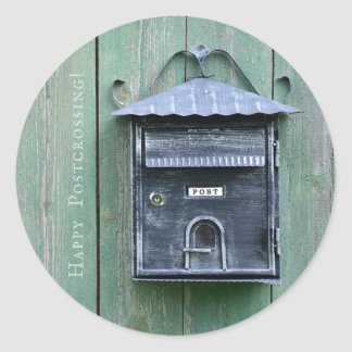 Happy Postcrossing! Mailbox. Classic Round Sticker