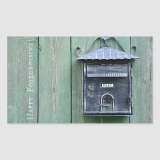 Happy Postcrossing! Mailbox. Rectangular Sticker