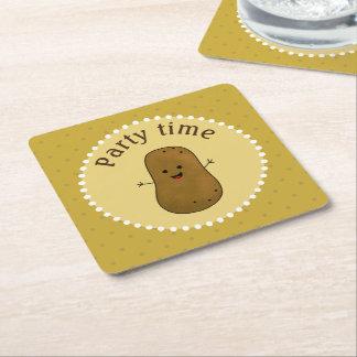 Happy Potato Party Time Square Paper Coaster