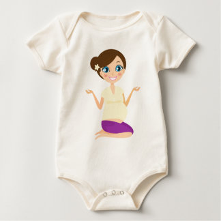 Happy pregnant girl with Belly Yellow Baby Bodysuit