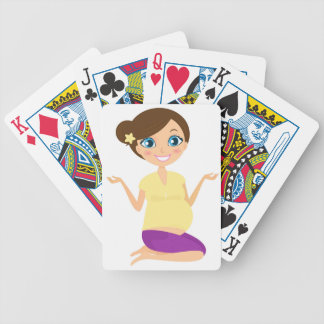 Happy pregnant girl with Belly Yellow Bicycle Playing Cards
