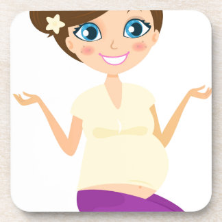 Happy pregnant girl with Belly Yellow Coaster