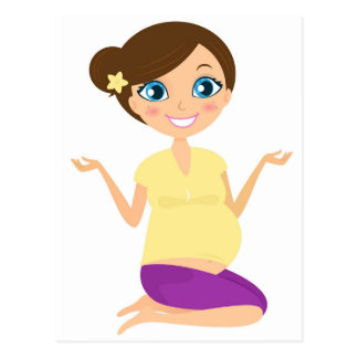 Happy pregnant girl with Belly Yellow Postcard