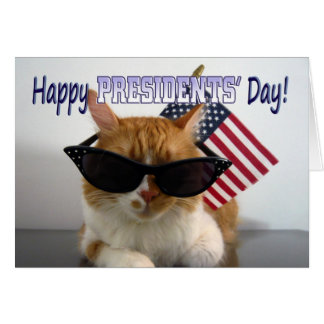 Happy Presidents' Day Cool Cat with American Flag Greeting Card