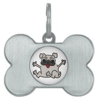 Happy Pug Pet Name Tag