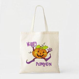 Happy Pumpkin Halloween Goodies Tote Bags