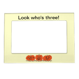 Happy Pumpkins Look Who's Three Magnetic Frames