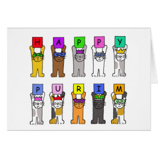 Happy Purim cartoon cats in masks. Card
